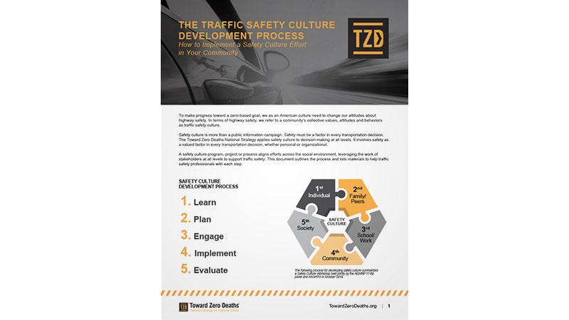 screen shot of flyer on overview of the process for developing traffic safety culture