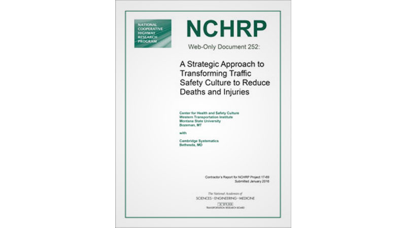 cover of NCHRP document 252 on strategic traffic safety culture to reduce traffic fatalities and injuries