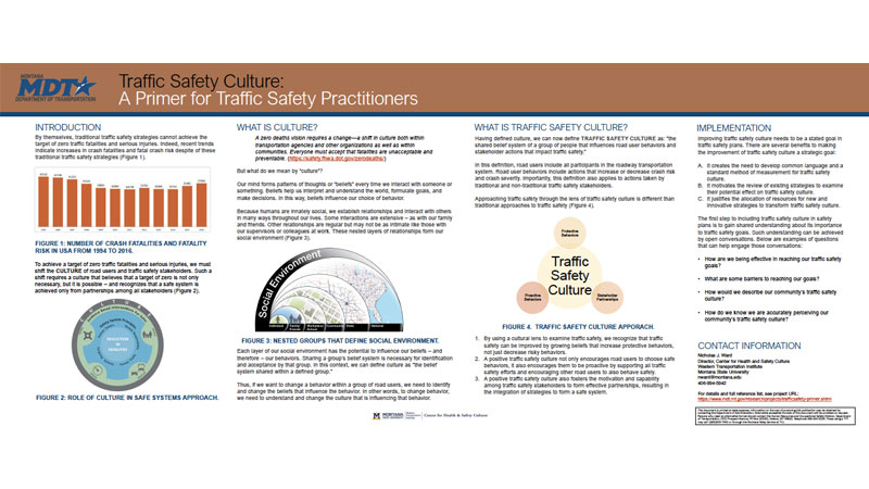 screen shot of poster on traffic safety culture from Montana Pooled Fund