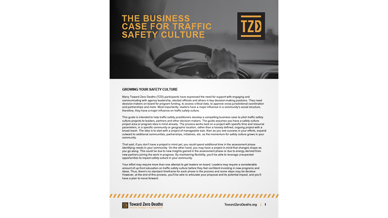 Screen shot of guide for developing a business case for traffic safety culture projects and programs