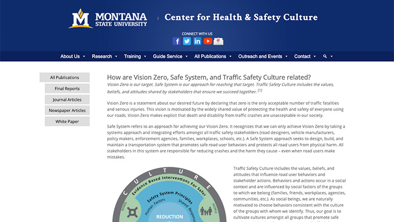 Screen shot of webpage that compares Vision Zero, Safe Systems and Traffic Safety Culture