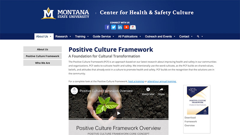 Screen shot of positive traffic safety culture framework page from Montana Traffic Safety Culture Pooled Fund