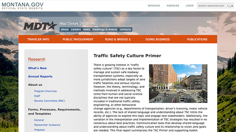 Screen shot of Montana Pooled Fund Traffic Safety Culture Primer webpage