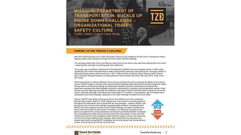 Thumbnail of traffic safety culture case study for Missouri Transportation Buckle Up Phone Down program