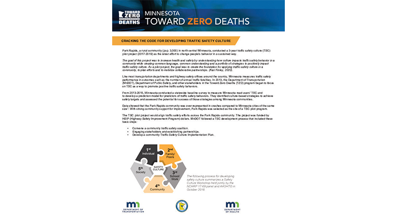 Thumbnail of case study for Minnesota Toward Zero Deaths Traffic Safety Culture Rural Community Pilot Project