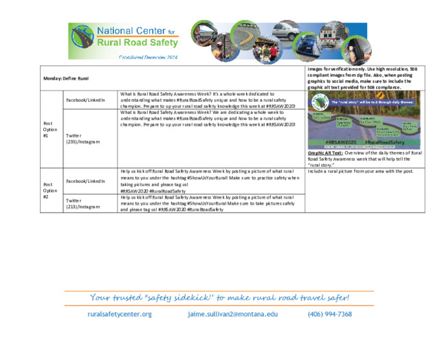 National Center for Rural Road Safety Awareness Week Social Media