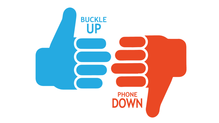 Buckle Up Buckle Down Logo - Thumbs Version
