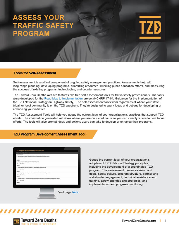 Screenshot of Toward Zero Deaths pdf of TZD implementation tools for self assessment of safety management practices