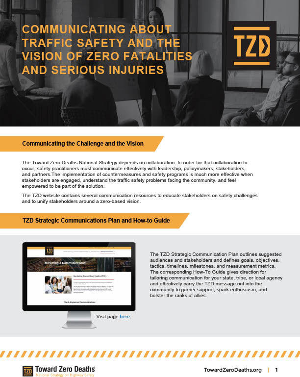 Screenshot of Toward Zero Deaths pdf of TZD traffic safety Communications Tools