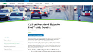 Zero Traffic Deaths 2050 website screenshot
